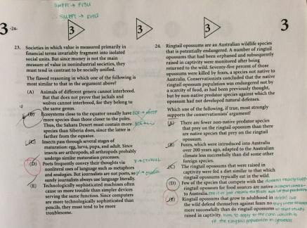 LSAT Practice Test Corrections Example